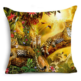 Leopard Family Cushion Cover