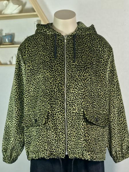 Leopard velvet parka