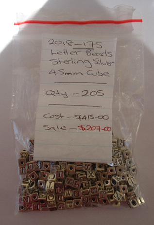 Letter Beads - Sterling Silver Cubes - 4.5mm