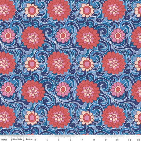 Liberty - The Carnaby Collection Retro Indigo Carnation Carnival in A 04775951A