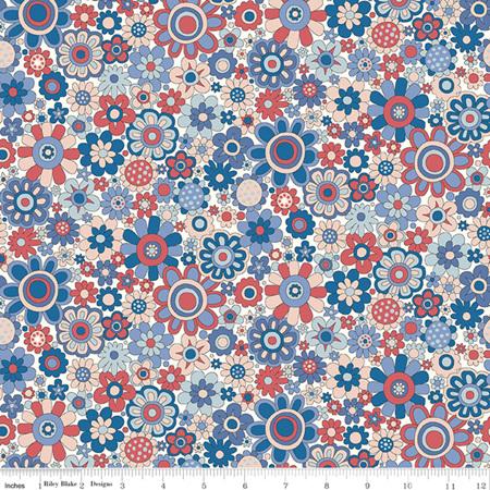 Liberty - The Carnaby Collection Retro Indigo Paradise Petals in A 04775948A