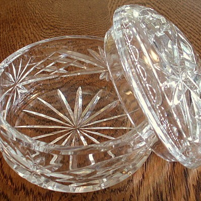 Lidded crystal dishes