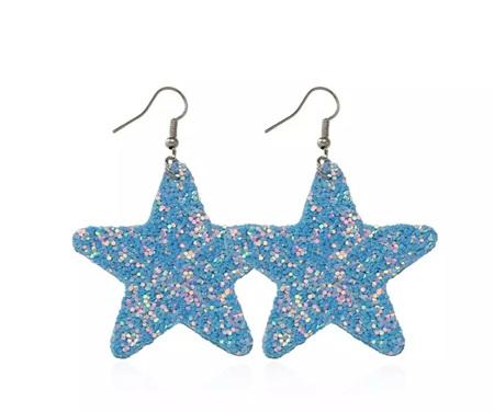 LIGHT BLUE GLITTER STAR EARRINGS