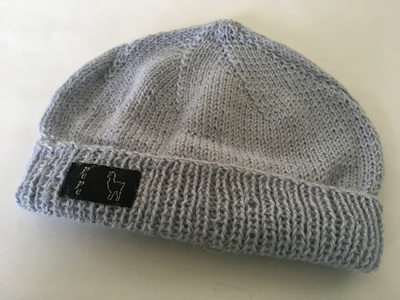 Light Blue Knitted Hat 4 Ply 100% Alpaca