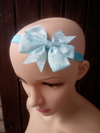 Light Blue With White Patterns Hair Band