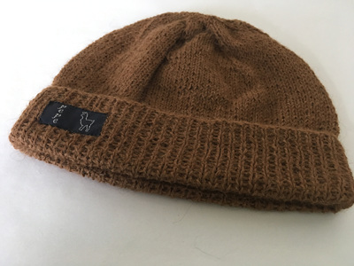 Light Brown Knitted Hat 4 Ply 100% Alpaca
