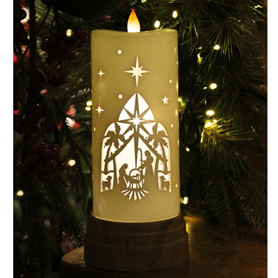 Light up, cutout candle - holy family