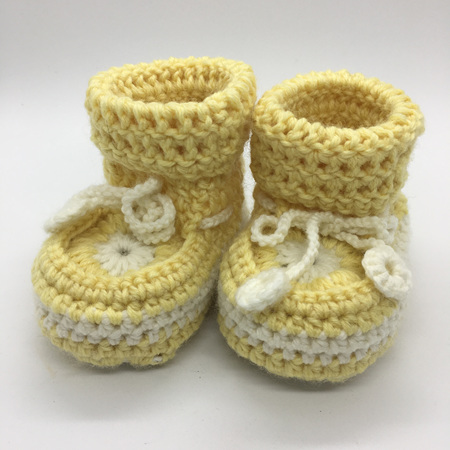 Light Yellow & White Crochet Baby Booties with Sheepskin Sole