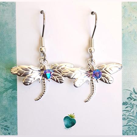 LILA - Silver & Purple Dragonfly Earrings