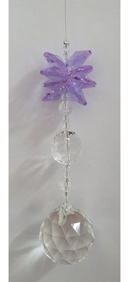 Lilac Cluster crystal hanging
