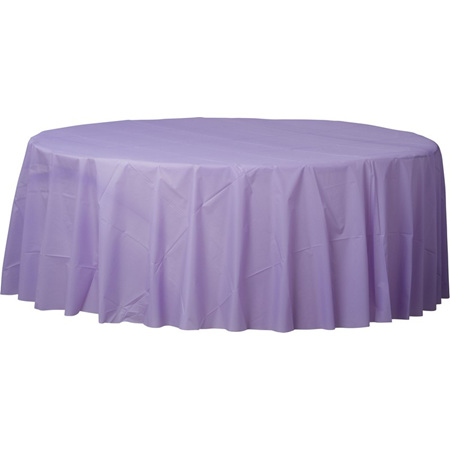 Lilac round plastic tablecover