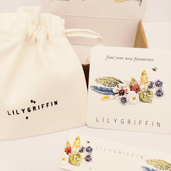 lilygriffin eco wrapping paper signature custom gift wrap pouch jewellery