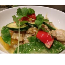 Lime and Lemongrass Thai chicken, fresh greens served wih Jasmine rice