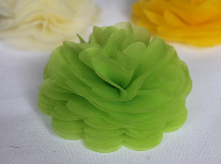 Lime green tissue flowers
