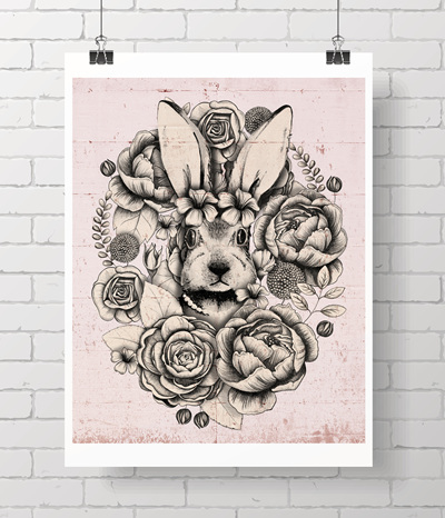 Limited edition bloom bunny print