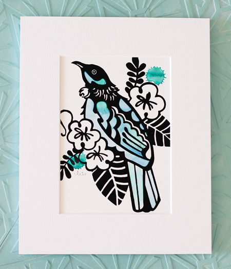 Limited tui watercolour in mat