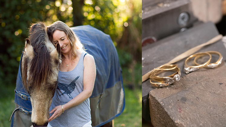 Lisa and her horse KiwiKawa, and four broken yellow gold and diamond rings