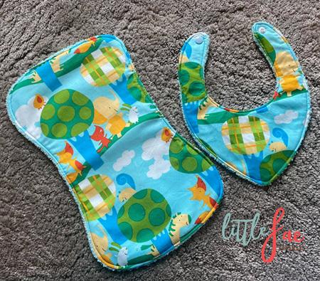 Little Animal Bib & Burp Cloth Set