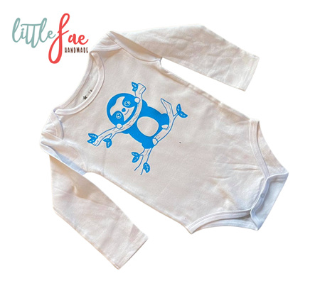 Little Blue Sloth Baby Body Suit