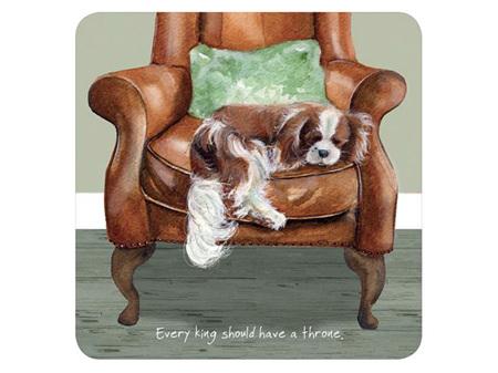 Little Dog Laughed Coaster - King Spaniel