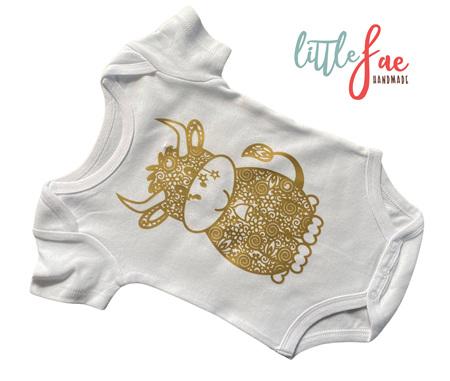 Little Golden Cow Baby Bodysuit