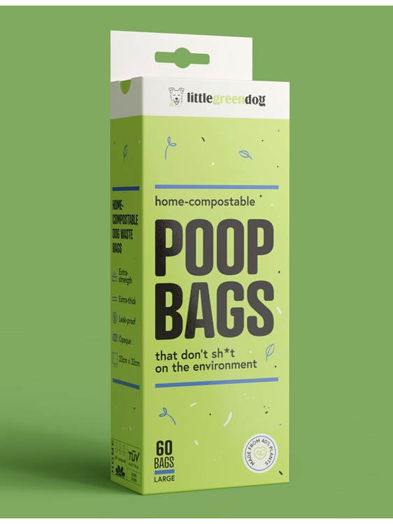 Little Green Dog compostable dog poop bags to go with your Poo Pod