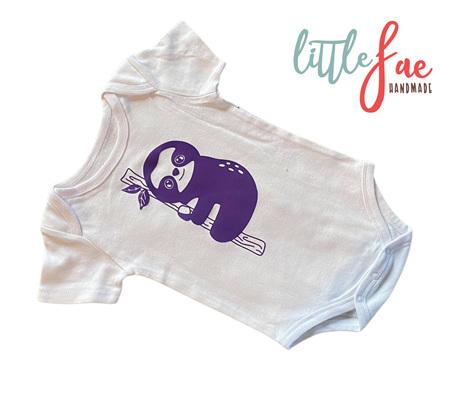 Little Purple Sloth Baby Body Suit