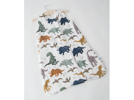 Little Unicorn Cotton Muslin Sleeping Bag Dino Friends Medium 6 - 12 Months