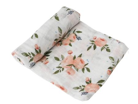 Little Unicorn Cotton Muslin Swaddle Watercolour Roses