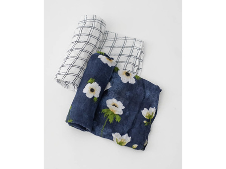 Little Unicorn Deluxe Muslin Swaddle 2 Pack White Anemone