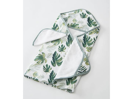 Little Unicorn Hooded Towel and Wash Cloth Tropical Leaf