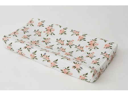Little Unicorn Muslin Changing Pad Cover Watercolour Roses