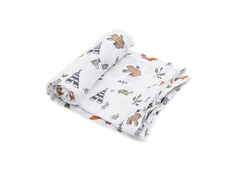 Little Unicorn Single Cotton Muslin Swaddle -Forest Friends