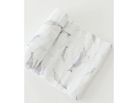 Little Unicorn Single Cotton Muslin Swaddle - Narwhal
