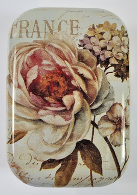 Little Vintage-Style Tin: Antique Pink Flowers