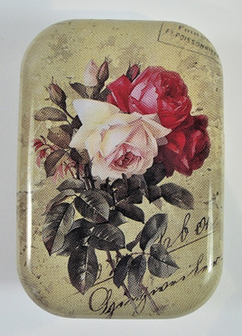 Little Vintage-Style Tin: Pale & Dark Pink Roses