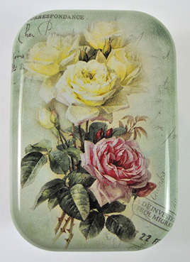 Little Vintage-Style Tin: Pink & Cream Roses
