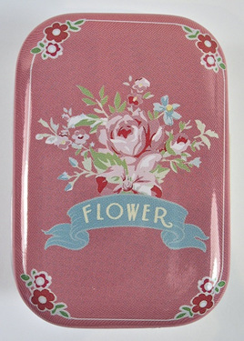 Little Vintage-Style Tin: Pink Flowers