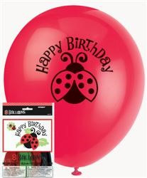 Lively Ladybugs Balloons pack of 8