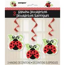 Lively Ladybugs Hanging Swirl Decorations x 3