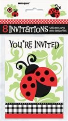 Lively Ladybugs Invites pack of 8
