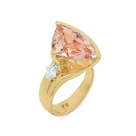 Liz: Fancy Morganite and Diamond Ring