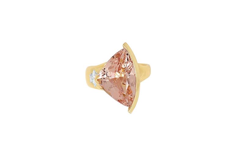 Liz: Fancy Morganite and Diamond Ring in Yellow Gold