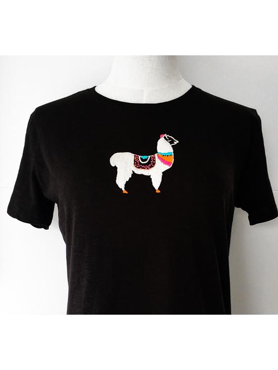 llama embroidery tshirt