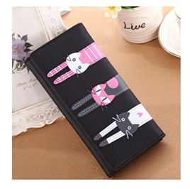 Long 3 Cats Ladies Wallet - Black
