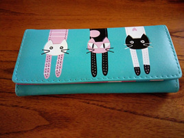Long 3 Cats Ladies Wallet - Greeny Blue