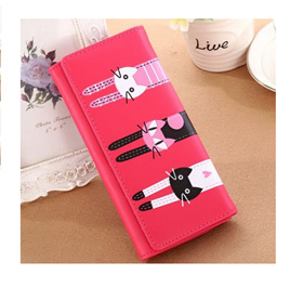 Long 3 Cats Ladies Wallet - HOT PINK