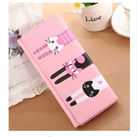 Long 3 Cats Ladies Wallet -Light Pink