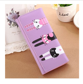 Long 3 Cats Ladies Wallet - Purple