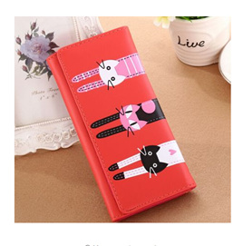 Long 3 Cats Ladies Wallet - Watermelon Red
